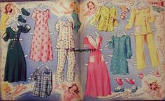 SLUMBER PARTY Paper Dolls: Nancy, Betsy, Carol, Jeanie, Patty  #4854 Merrill 1943 <> 6 0f 7