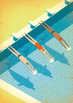 """Dolphin Men"", by Davide Bonazzi, a poster illustration for ASD Nuoto Center Forlì, a swim center located in Italy. Art And Illustration, Illustrations And Posters, Graphic Design Illustration, Graphic Art, Grafik Design, Cool Art, Animation, Drawings, Artwork"