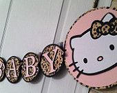 Items similar to Hello Kitty Baby Shower Banner Leopard Print on Etsy Cute Baby Shower Ideas, Baby Ideas, Hello Kitty Baby Shower, Diy Unicorn Headband, Baby Leopard, Gold Baby Showers, Party Banners, Girl Decor, Baby Shower Gender Reveal