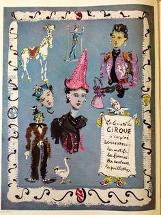 *  Christian Bérard pour  Vogue 1938 créations d'Elsa  Schiaparelli