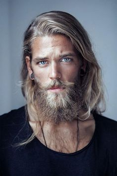Guys with blonde hair, man with beard, huge beard, guys with beards, scruff Popular Hairstyles, Boy Hairstyles, Hair And Beard Styles, Long Hair Styles, Photographie Portrait Inspiration, Male Face, Haircuts For Men, Long Haircuts, Facial Hair