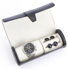 Royce Leather Luxury Watch Roll and Cufflink Storage Case - 932-BLACK 5