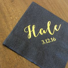 Personalized Last Name Wedding Napkins by GraciousBridal.com on Etsy. Our personalized last name napkins add that ideal personal touch to any wedding rehearsal dinner, reception, engagement party, or couples shower!