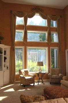2 story drama with drapes and swags Our custom curtains can add height, drama, and a sense of artful style when framing a window. Tall Window Treatments, House, Windows, Window Styles, Popular Interiors, Custom Curtains, Living Room Windows, Arched Window Treatments, Interior Design