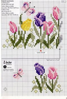 Tulips Border cross stitch chart pattern ...... Loads of beautiful flower cross stitch pattern charts at site, including roses, iris, etc.etc.