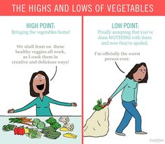 Parenting Meme: the highs and lows of vegetables, according to Hedger Humor.
