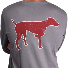 SPC Signature Long Sleeve Vintage Logo Tee in Grey & Red by Southern Point Co.