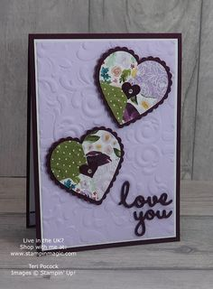 Stampin' Up! UK Demonstrator - Teri Pocock: Well Written Valentine - No Stamping Card - Video Tutorial Happy Valentines Day, Valentine Cards, Patchwork Heart, Boyfriend Crafts, Stamping Up Cards, Frame Crafts, Heart Cards, Button Crafts, Card Tutorials