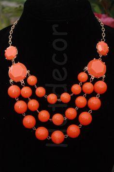 Orange Bib Necklace Orange Statement necklaces Orange by HotDecor 14.99