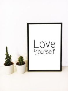 Love Yourself  #print #poster #interiordesign #prints #blackandwhite #typoprint #typographyprint #love #loveyourself Typography Prints, Print Poster, Love You, Te Amo, Je T'aime, I Love You