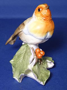 'Royal Worcester Birds-Robin on Holly'