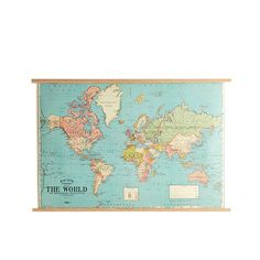 Urban Outfitters Hanging World Map Print