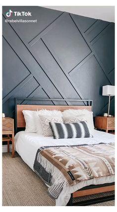 Bedroom Wall Designs, Accent Wall Bedroom, Master Bedroom Design, Wood Accent Walls, Wood On Walls, Master Bedroom Wood Wall, Accent Wall Designs, Feature Wall Bedroom, Diy Wood Wall