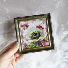 White flower oil painting original on canvas Bee artwork small   Etsy