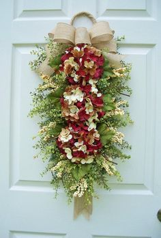 Hydrangea Wreath Swag w/ Ribbon Tails~Cherry Chocolate - Timeless Floral Boutique Hydrangea Wreath, Hydrangea Flower, Flowers, Holiday Wreaths, Christmas Decorations, Holiday Decor, Swag Ideas, Wreath Ideas, Door Swag