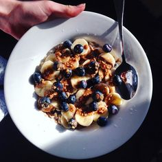 Banana, blueberry and hazelnut butter oatmeal to start the day right!