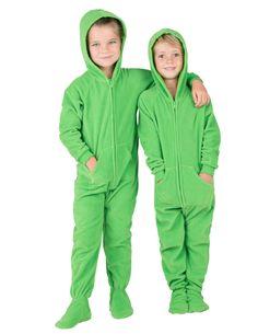9189100642 Emerald Green Hooded Footed Pajamas Fleece Pajamas