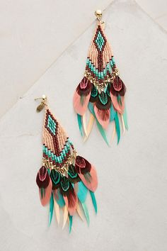 Slide View: 1: Quetzal Beaded Earrings