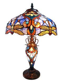 Chloe 'JULIA' Tiffany-style Dragonfly 3 Light Double Lit Table Lamp 17' Shade