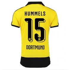 Günstige fußballtrikots BVB Borussia Dortmund 15-16 HummeHeim Langarm Trikot