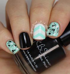 the nail polish challenge: Chevron Skittle Nail Art with KBShimmer nail polish, polish challeng, nail art designs, skittl nail, nail arts