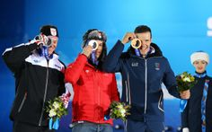 see you!  (L-R) Silver medalist Ivica Kostelic of Crioatia, gold medalist Sandro Viletta of Switzerland and bronze medalist Christof Inner...