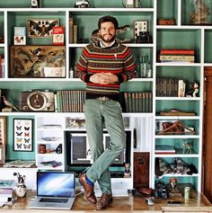 Kiel James Patrick in front of fabulously styled shelves. Men's Home Offices, Bird People, Preppy Mens Fashion, James Patrick, Sarah Vickers, My Style, Interiors, Wasp, Girls Wear