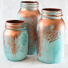 Mason Jar with Blue Patina   DIY Mason Jar Decorations by DIY Ready at http://diyready.com/mason-jar-crafts-in-15-minutes/