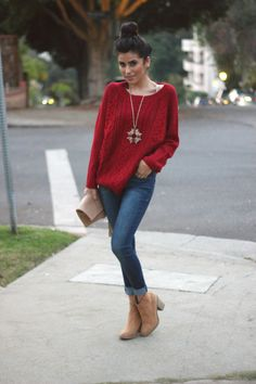 sweater, holiday style 2013, outfit ideas, lovers and friends la, la, rue gembon, dittos denim, suede booties, h&m, kslademade, fashion blog...