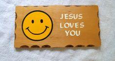 Vintage Religious Plaque Wood Plaque Jesus by VintagePlusCrafts, $5.00