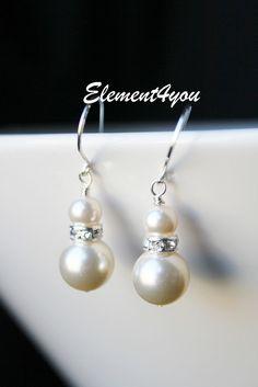 Bridal Jewelry - Silver and Ivory Swarovski Pearl Earrings - Wedding Jewellery - Dangly Pearl Earring Drops, Black, Blue, Peach, purple. $16.00, via Etsy.