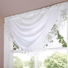 Emma Barclay Daisy Swag Voile Curtain Panel, Cream
