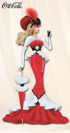 Exquisitely handcrafted and hand-painted lovely lady figurine in elegant attire for her seaside getaway and enjoys a Coke®.