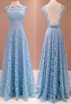 Blue Floor-length A-Line Lace Prom Dresses
