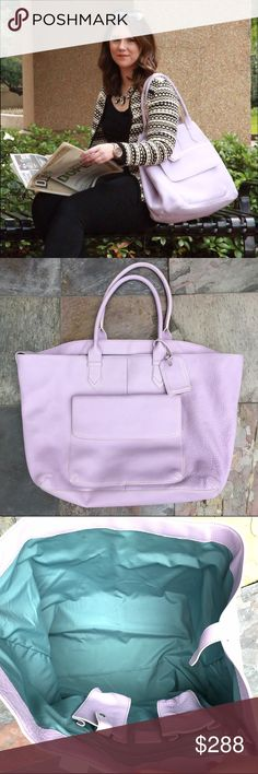 COLE HAAN Lavender XL tote If you like big bags and you can't lie this bag is for you! Stunning and rare lavender color and beautiful Tiffany blue lining inside. This bag can be worn in 2 diff ways .. See 2nd and last photo. Amazing like new condition. Comes with a luggage name tag. Cole Haan Bags