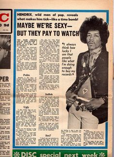 Jimi Hendrix.  How to frame famous newspaper articles.  click on photo to learn more.