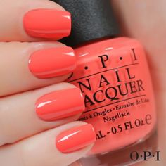 Best Nail Polish Colors of 2019 for a Trendy Manicure Coral Nails, Opi Nails, Nail Polishes, Cute Nails, Pretty Nails, Orange Nail Polish, Opi Polish, Opi Nail Colors, Lipstick Colors