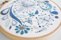 Abstract Blue Flowers Satin Stitch Sampler 5 by sometimesiswirl