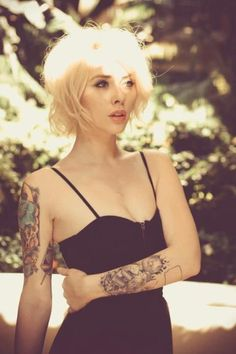Tattoos. Bleached Blond Hair. The hair style. The Dress. I love this image. sexy.