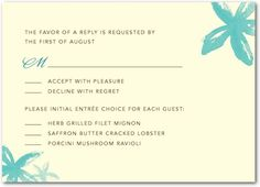 entree choice response card Wedding Invitations | Dont Forget the Entree Selection