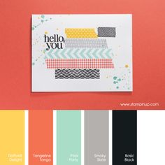 Daffodil Delight, Tangerine Tango, Pool Party, Smoky Slate, Basic Black #stampinupcolorcombos