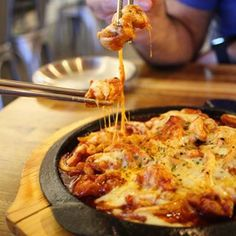 Cheesy spicy chicken, came out with a bit of sizzle and bubble, was deliciously sweet and very spicy, with lots of stretchy cheese, yum. #hanabirestaurant #lidcombehanabi #lidcombeeats #lidcombefood #sydneykoreanfood