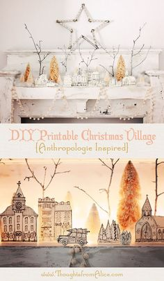FREE beautiful hand drawn Christmas Village!  I LOVE THIS!!!