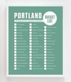 Portland Bucket List Wall Art Print by OwlYouNeedIsLoveShop