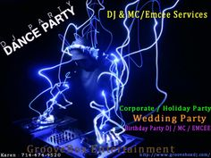 """Make your day as simple or as exciting as you want. We can be """"hands-off / behind the scenes"""", and just play good music, or we can be highly interactive.  Either way, we will help to make your wedding the most fun your guests have ever had. Our DJ's have years of experience and can make your party a truly one-of-a-kind experience. Visit our website www.grooveboxdj.com for more information and then call or e-mail us for a no pressure chat! Phone 714-474-9520 ."""