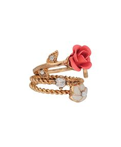 A set of three stack rings featuring a painted rose with rhinestoned and pressed petals, a lacquered flower with a pearlescent center, and a faux diamond. Coiled details. High polish finish. Lightweight.
