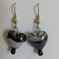 These lampwork glass hearts in blue and white are beautiful, and will receive many compliments. They shine and shimmer, adding the perfect finishing touch to any ensemble. Heart Earrings, Drop Earrings, Compliments, Hearts, Blue And White, Glass, Beautiful, Jewelry, Jewlery