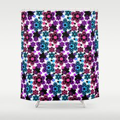 Rainbow Floral Abstract Shower Curtain. Add matching pillow, rug, wallpaper border, duvet, and more #decampstudios