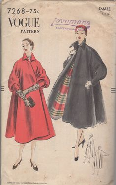 1950's Misses' Coat Vogue 7268 Size Small Bust 2830 by HelaQ sld 10/15/14 31+2.75