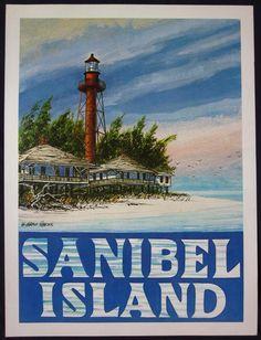 Sanibel Island Poster   Vintage Travel Poster   Florida Art   Lighthouse Art   W. Harold Hancock Art   Beach Art   Captiva Island   24x18 by WHaroldHancockArt on Etsy https://www.etsy.com/listing/212627216/sanibel-island-poster-vintage-travel